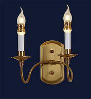 Бра классическое настенное LV на две лампы с основанием золото
