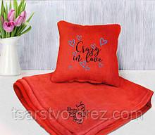 Набор подушка и плед с вышивкой, в ассортименте
