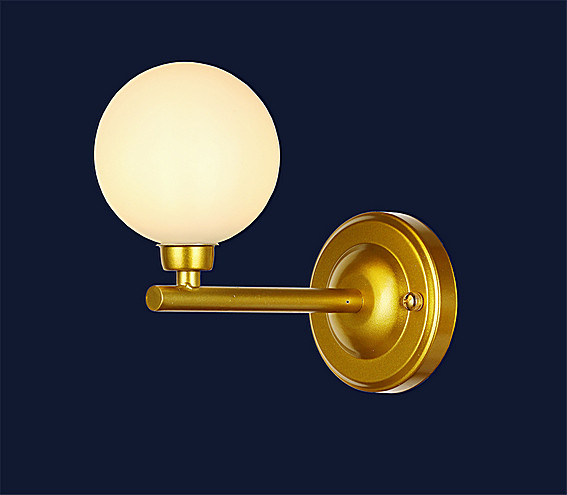 Бра настенное золотого цвета с круглым белым плафоном LV 756WL001-1 GD