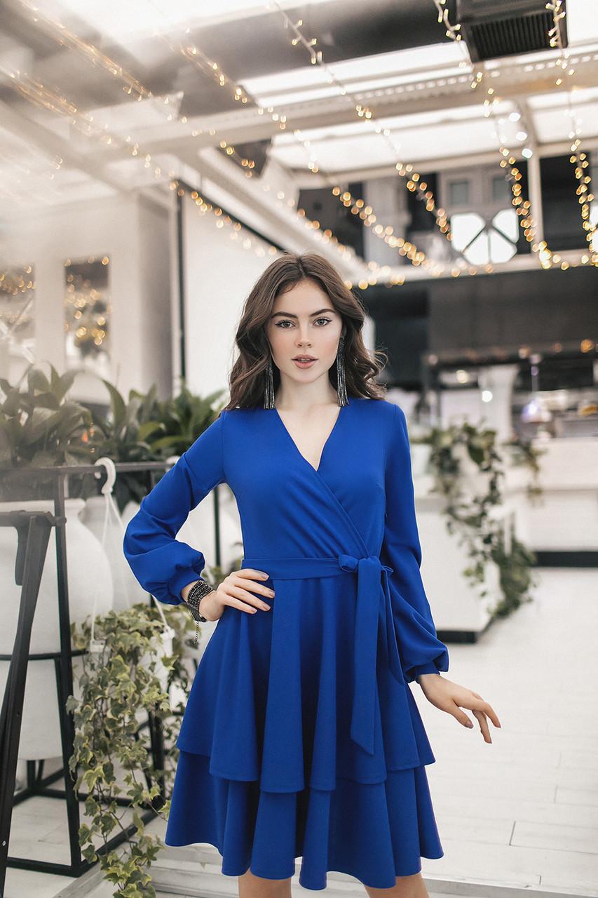 Женское платье  с двойным воланом Электрик