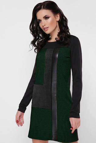 """Стильное комбинированное прямое платье выше колен со вставками, длинный рукав """"Sandra"""" черное с зеленым, фото 2"""