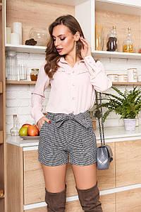 Короткие женские шорты с завышенной талией из твида