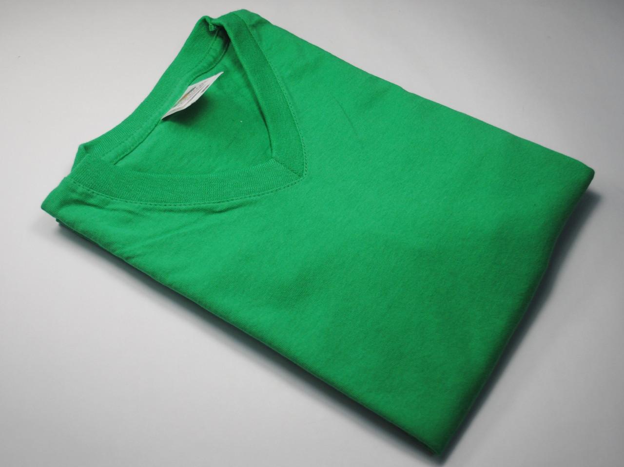 Мужская футболка с V-образным вырезом 61-066-0 Ярко-зелёный, 3XL