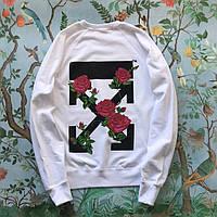 Свитшот Off-White Roses. Унисекс. Материалы: 80% Хлопок, 20% Эластан, фото 1