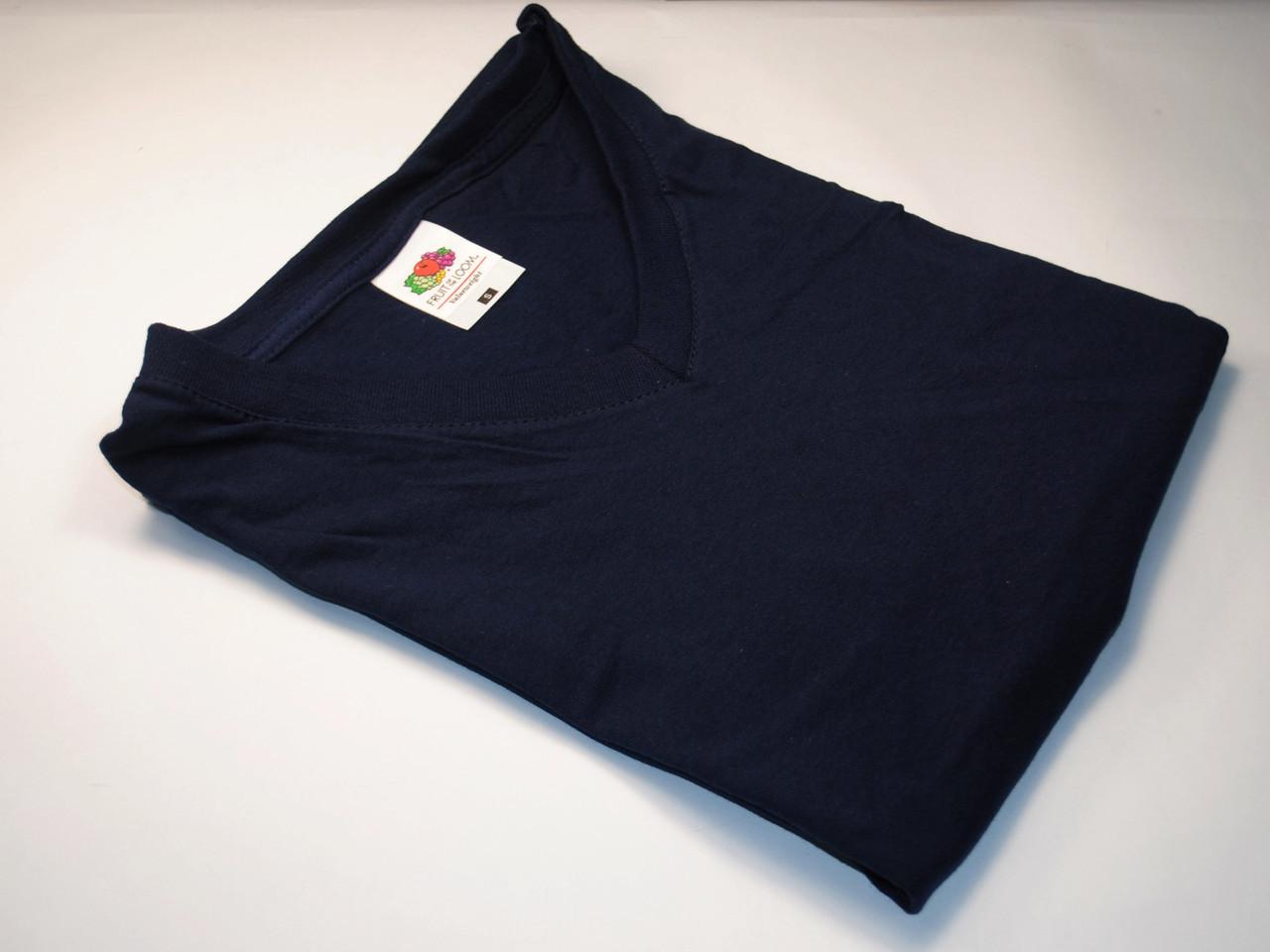 Мужская футболка с V-образным вырезом 61-066-0 Глубоко тёмно-синий, XL