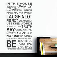 Наклейка виниловая интерьерная на обои  In this house (самоклеющаяся пленка, английские слова, буквы, тексты)