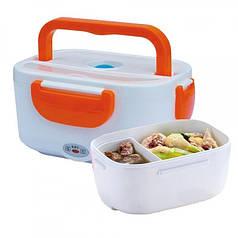 Электрический ланч бокс с подогревом 2-в-1 12/220В от сети и прикуривателя Electric Lunch Box 1.05 л Оранжевый