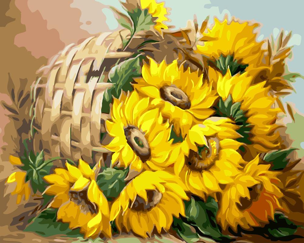 Картина по номерам Корзина подсолнухов, 40x50 см., Rainbow art