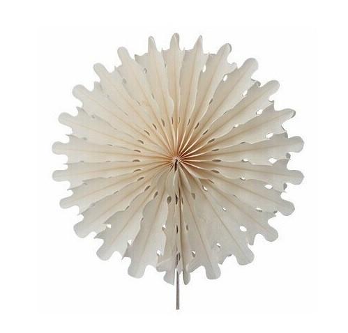 Гирлянда веер айвори - диаметр 12см, картон, бумага, нить