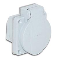 Розетка врезная фланцевая приборная щитовая с заземлением 2P+E защита IP54 c уплотнительной резинкой и крышкой серого цвета,  50х50
