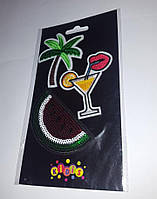 "Наклейки-тэрмо на текстиль ""Арбуз и коктейль"",  8419"