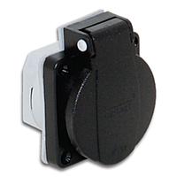 Розетка врезная фланцевая приборная щитовая с заземлением 2P+E защита IP54 c уплотнительной резинкой и крышкой черного цвета,  50х50