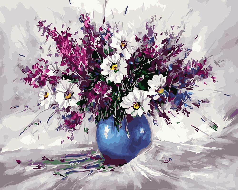 Картина по номерам Букет в синей вазе, 40x50 см., Rainbow art