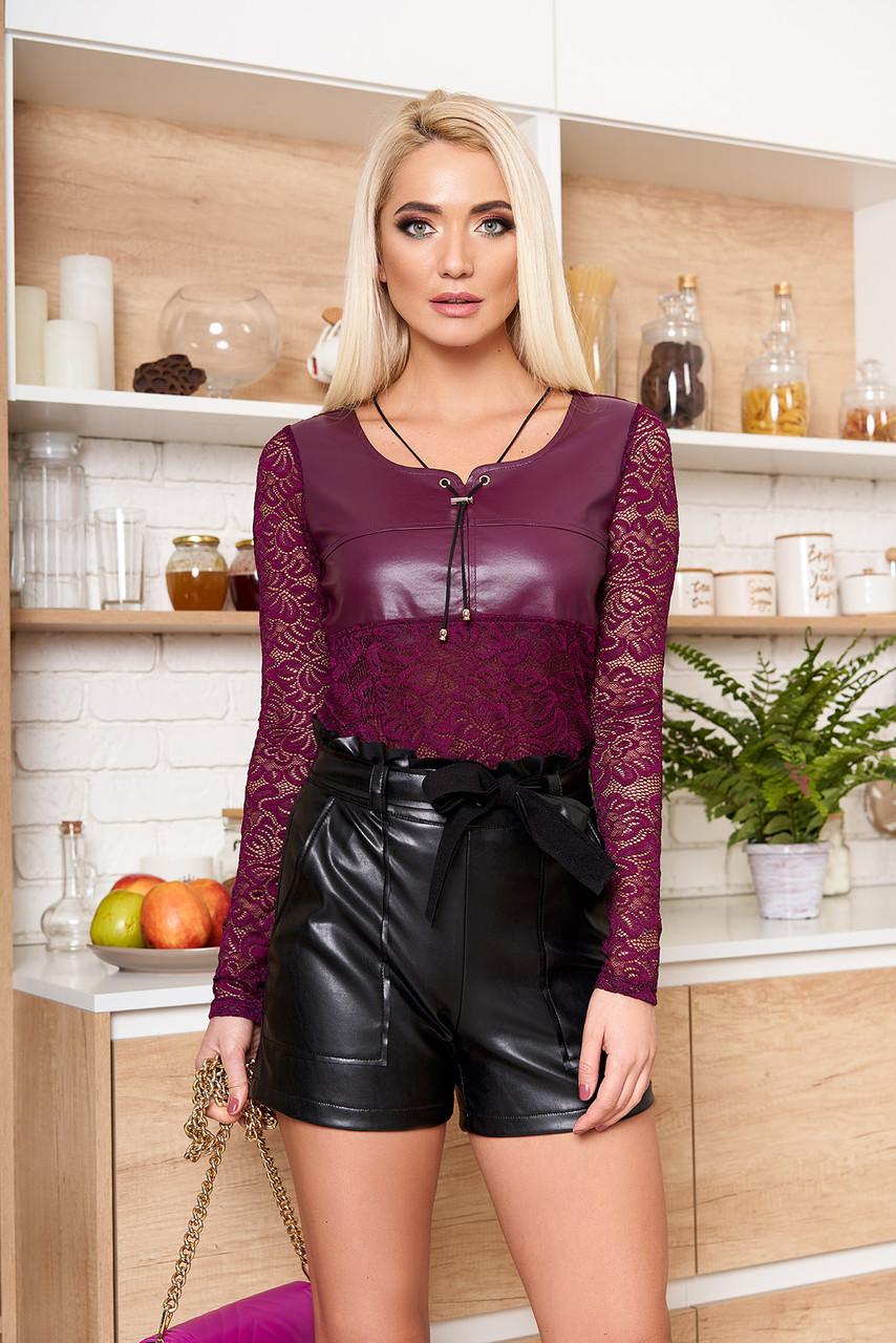 Женские кожаные шорты с завышенной талией