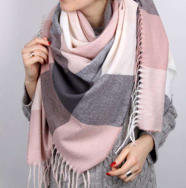 Платок шарф, женский теплый розовый с серым., цена 420 грн., купить в  Харькове — Prom.ua (ID#887964451)