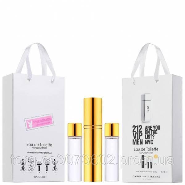Міні-чоловічий парфум Carolina Herrera 212 VIP Men, 3х15 мл