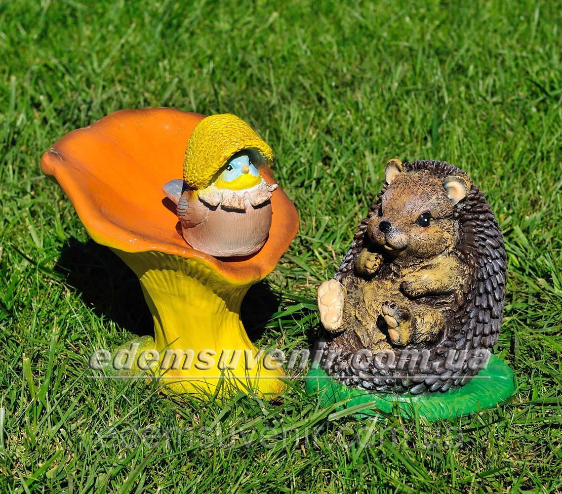 Садовая фигура Гриб лисичка, Синичка грибочек и Ежик на поляне