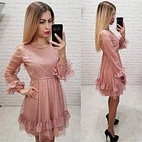 Красивое женское приталенное платье из сетки в горох с рюшами уни 42-46 2793896532857
