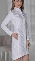 Жіночий білий халат для працівників СПА (коттон) 42р-56р
