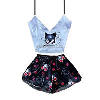 Пижама женская Cat Woman шелковая, фото 1