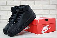 Мужские черные кожаные кроссовки Nike Air Force 1 High Black (Найк Аир Форс высокие), фото 1