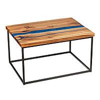 """Стол из массива дерева с эпоксидной смолой """"Голубая лагуна"""""""