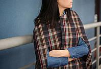 Женское пальто кейп в клетку из шерсти, пальто без рукавов весеннее, фото 1