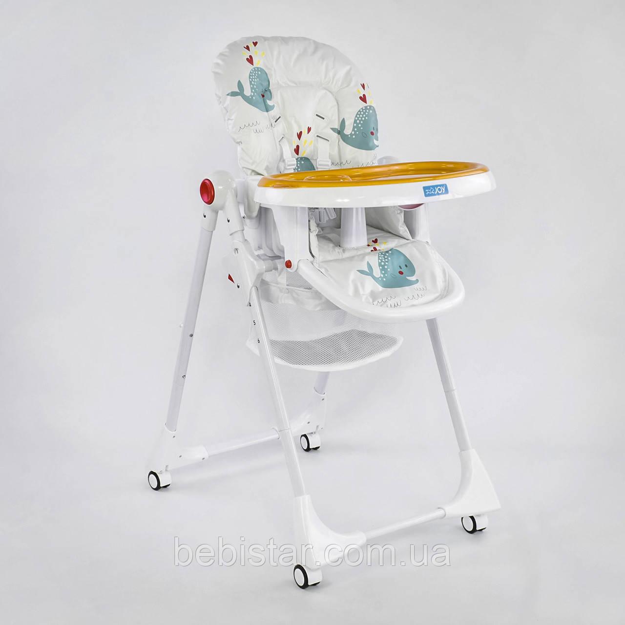 Детский стульчик для кормления JOY Рыбки цвет белый