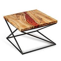 """Стол из массива дерева с эпоксидной смолой """"Пламя дракона №1"""""""
