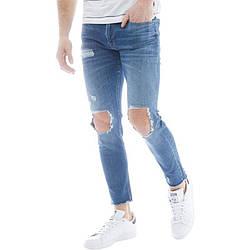 Мужские зауженные рваные джинсы JACK AND JONES синие оригинал