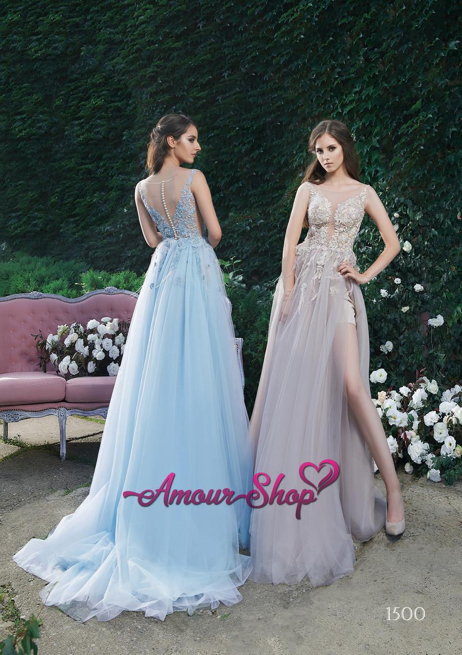 Длинное стильное вечернее платье с разрезом, выпускное платье 2019