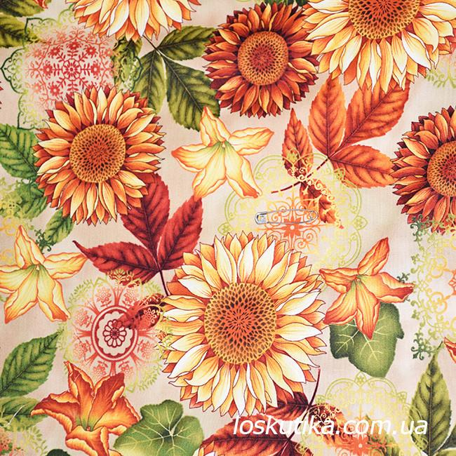 47013 Этюд в подсолнухах. Ткань для изготовления сумок, сувениров хендмэйд изделий.Подойдет для летнего платья