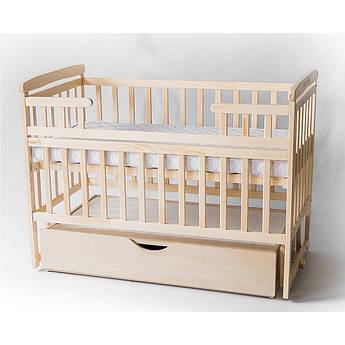 Детская кроватка-трансформер Лодочка с ящиком, натуральная