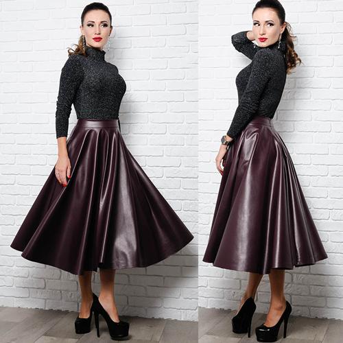 c2205aa8a94 Расклешенная юбка миди из экокожи размеры 42 по 60 купить недорого в ...