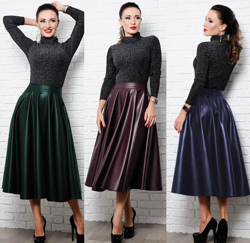 3e7605b9135 купить Расклешенную юбку миди из экокожи размеры 42 по 60 в Украине (Киев