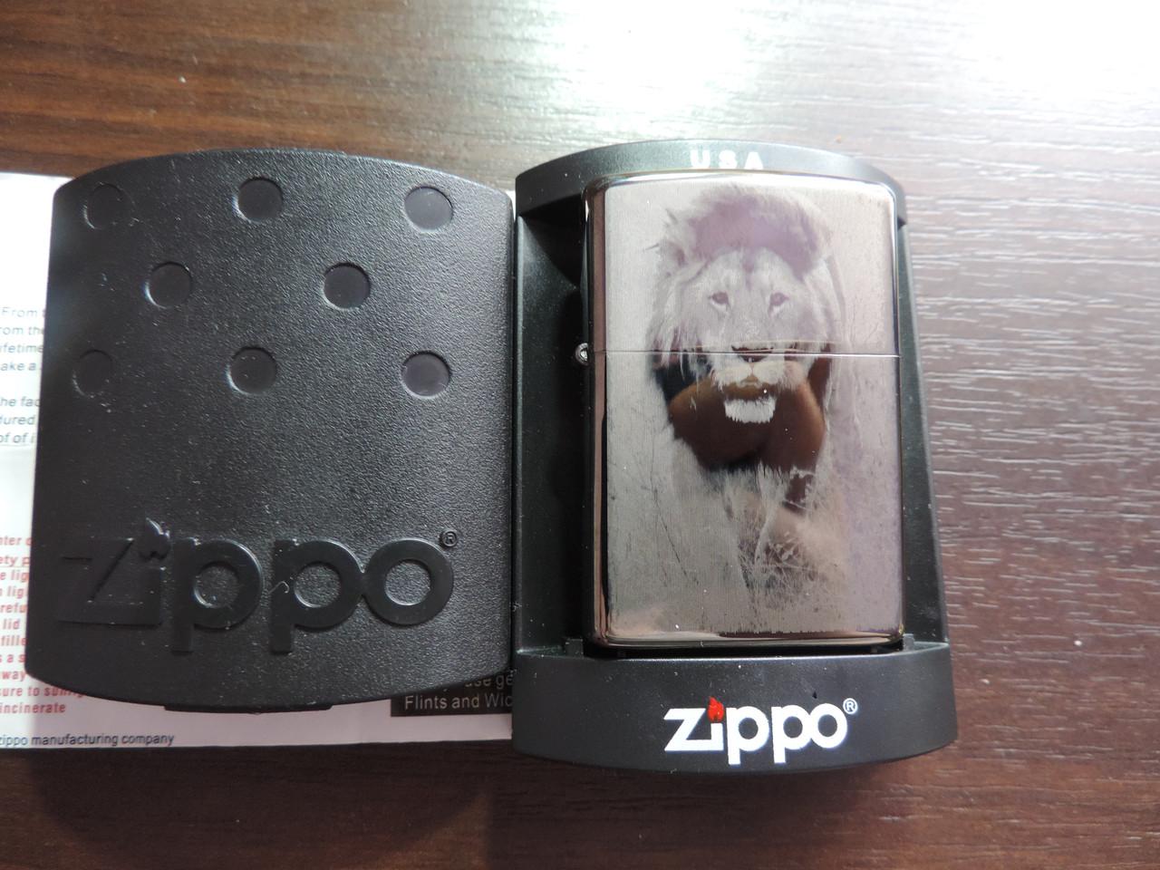 """Зажигалка бензиновая Zippo """"lion"""" копия"""