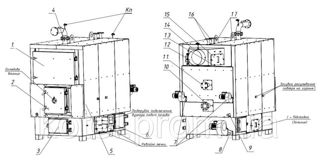 Схема водогрейного котла на щепе ТМ-500