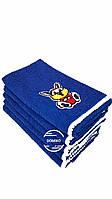 Махровое полотенце 50*90 зайка с помпонами синее