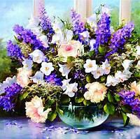 Алмазная вышивка букет полевых цветов 25х25 см, полная выкладка, квадратные стразы