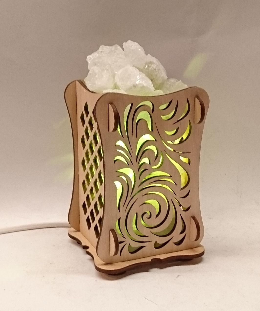 Соляной светильник Деревянный камин Листья