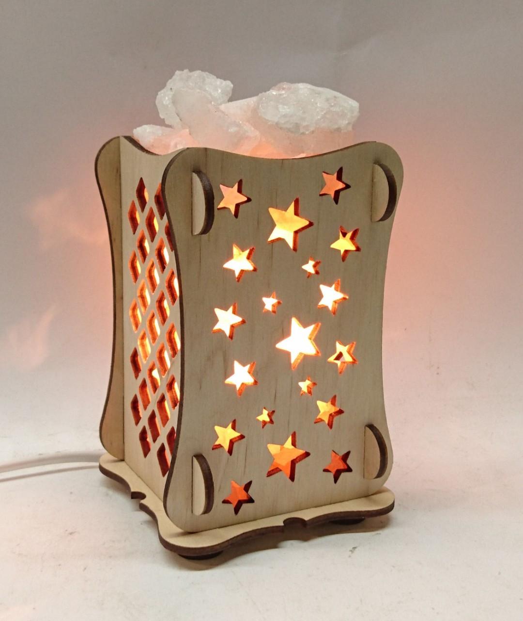 Соляной светильник Деревянный камин Звезды