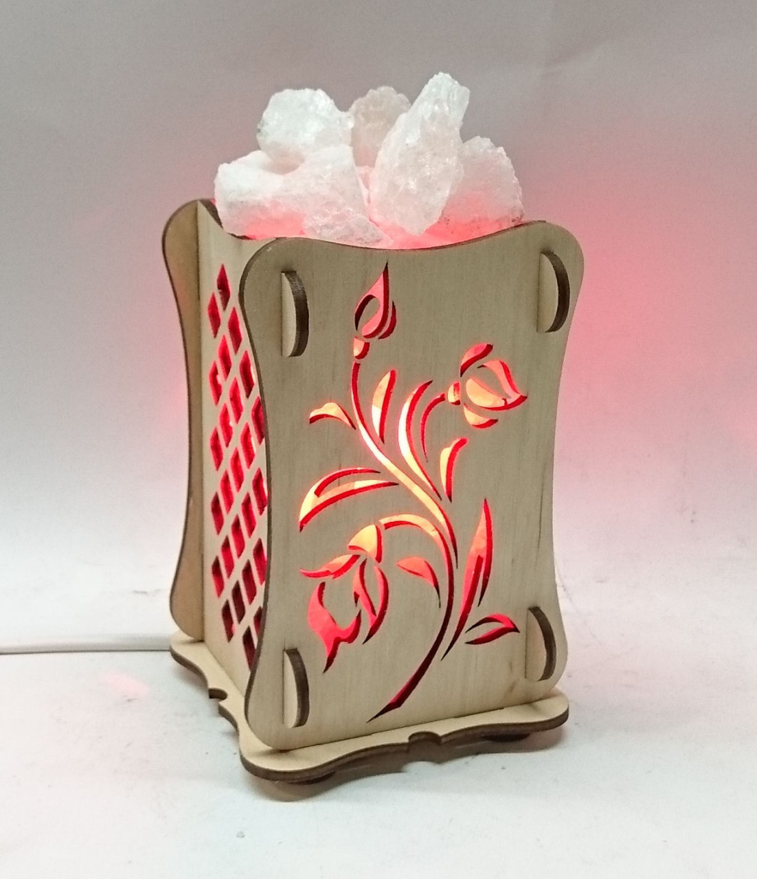 Соляной светильник Деревянный камин Роза