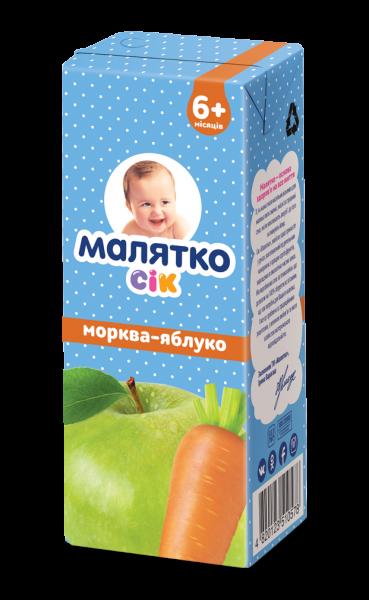 Сок Малятко морковь-яблоко осветленный, 200 мл