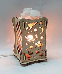 Соляной светильник Деревянный камин Космос