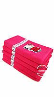 Махровое полотенце 50*90 Kitty с фламинго розовое