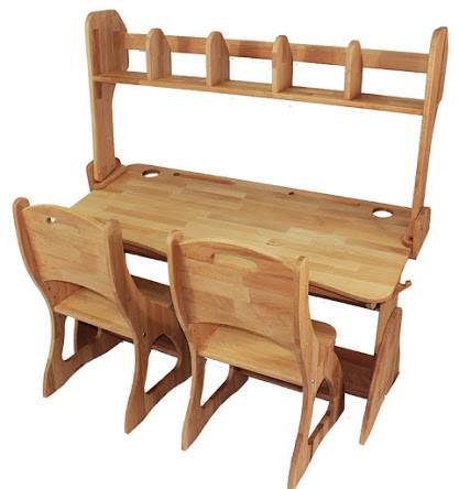 Двомісний комплект: парта Растишка з надбудовою та ящиками + 2 стільця ширина 120 см дерев'яні з бука Mobler