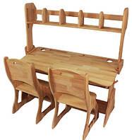 Двомісний комплект: парта Растишка з надбудовою та ящиками + 2 стільця ширина 120 см дерев'яні з бука Mobler, фото 1