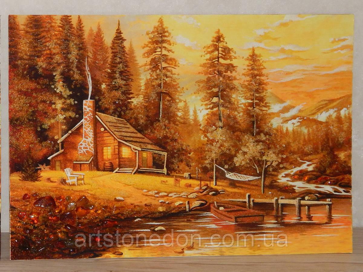 Картина из янтаря Домик в лесу