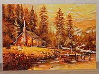 Картина из янтаря Домик в лесу, фото 1