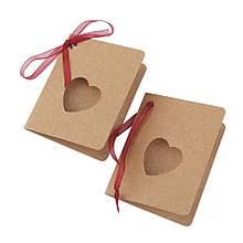 Мини открытка бирка для подарка с сердцем